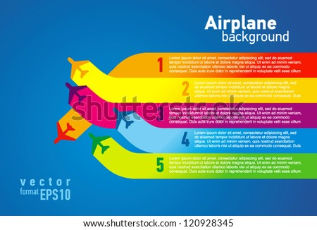airplane colored list background - stock vector