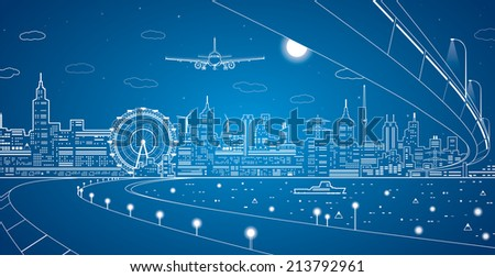 Airplane comes in to land on the background of the city at night, the ship on the water, vector art - stock vector