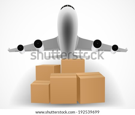 airplane delivery concept with pile of packages - stock vector
