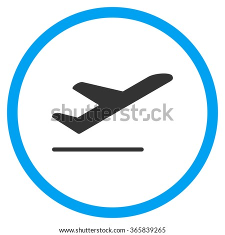 Airplane Departure vector icon. Style is bicolor flat circled symbol, blue and gray colors, rounded angles, white background. - stock vector