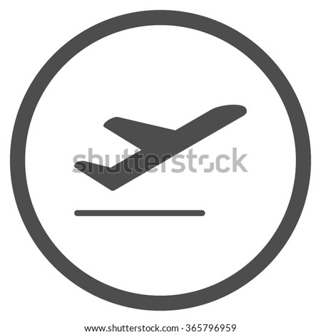 Airplane Departure vector icon. Style is flat circled symbol, gray color, rounded angles, white background. - stock vector
