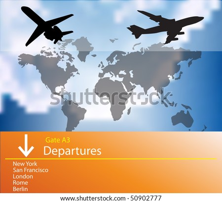 Airplane departures - stock vector