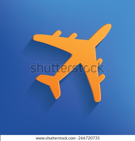 Airplane design on blue background,clean vector - stock vector