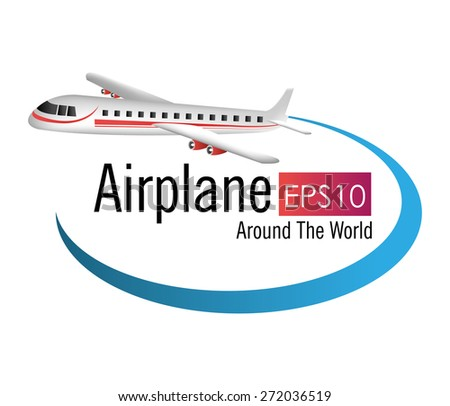 Airplane design over white background, vector illustration.