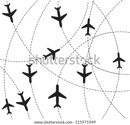Airplane destination routes - stock vector