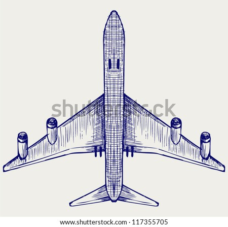 Airplane. Doodle style - stock vector
