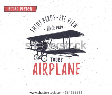Airplane emblem. Biplane label. Retro Plane badges, design elements. Vintage prints for t shirt. Aviation stamp. Air tour logo. Travel logotype. Isolated on white textured background. Vector - stock vector