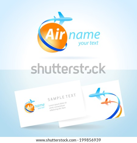 airplane emblem sign, plane symbol - stock vector