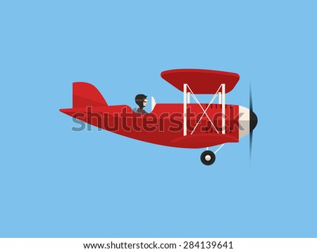 Airplane, flat design - stock vector