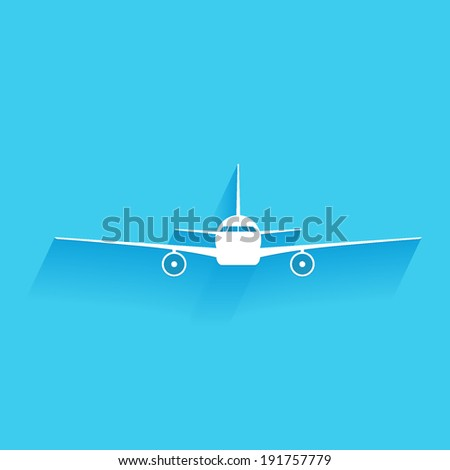 airplane, flat icon isolated on a blue background for your design, vector illustration - stock vector