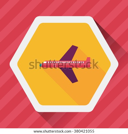 airplane flat icon with long shadow,eps10