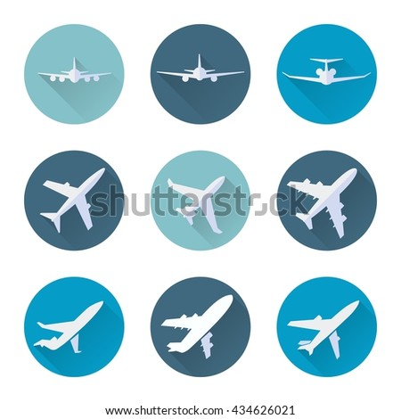 Airplane flat icons in blue circle set. Vector illustration - stock vector