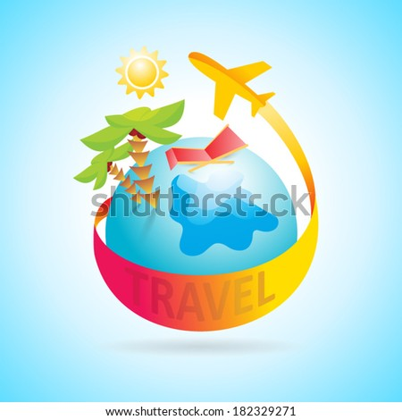 airplane flight air fly travel takeoff globe sun sea element - stock vector