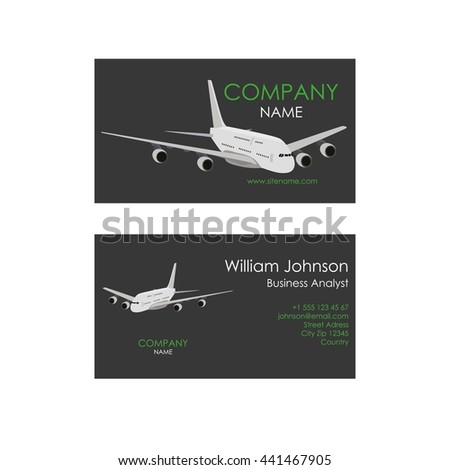 Airplane flight business card - stock vector