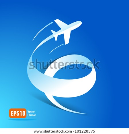 airplane flight transportation air fly travel takeoff silhouette element blue background - stock vector