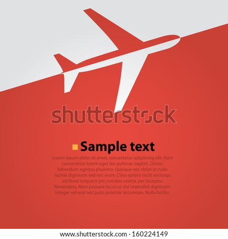 airplane flight vector background. Red - stock vector