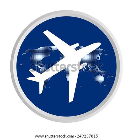 airplane fly around world icon - stock vector