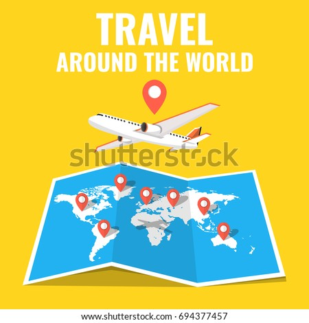 Airplane flying above world map around stock vector 694377457 airplane flying above the world map around the world travelling concept flat cartoon style gumiabroncs Image collections