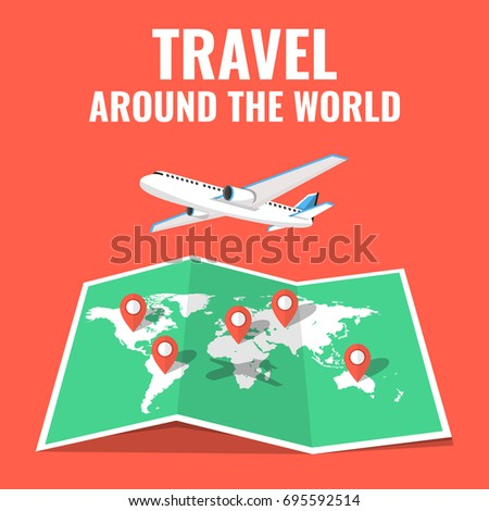 Airplane flying above world map around stock vector 695592514 airplane flying above the world map around the world travelling concept flat cartoon style gumiabroncs Image collections