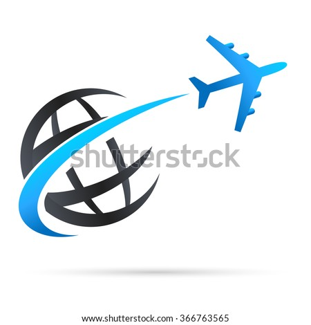 airplane flying around earth - vector icon