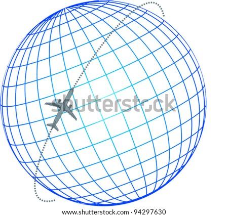 airplane flying around the globe - stock vector