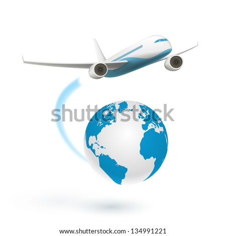 Airplane flying around the globe isolated on white background. Vector Illustration - stock vector