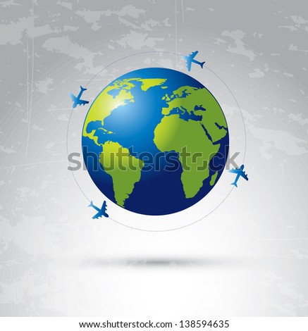 airplane flying around the world over degraded color background - stock vector