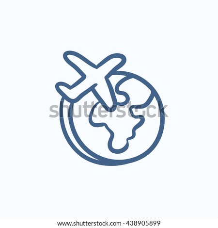 Airplane flying around the world vector sketch icon isolated on background. Hand drawn Airplane flying around the world icon. Airplane flying around world sketch icon for infographic, website or app. - stock vector