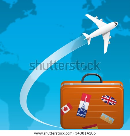 Airplane flying on the world ,and traveler suitcase - stock vector