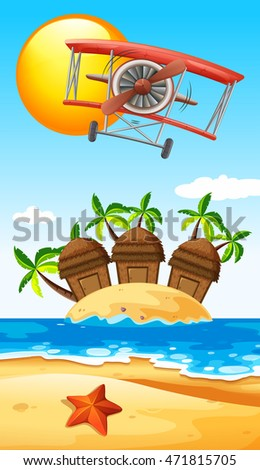 Airplane flying over island illustration