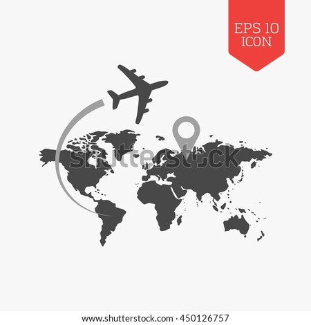 Airplane flying over world map travel vectores en stock 450126757 airplane flying over world map travel with destination concept flat design gray color symbol gumiabroncs Images