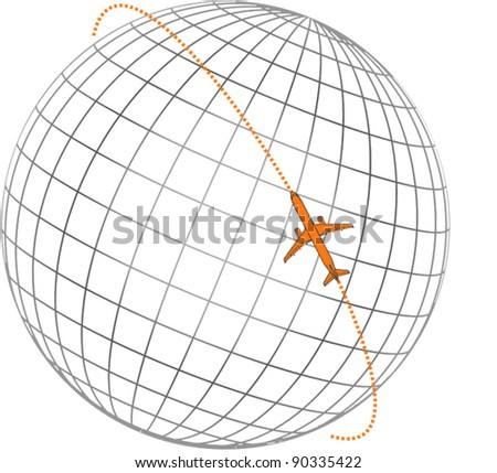 Airplane flying round the globe - stock vector