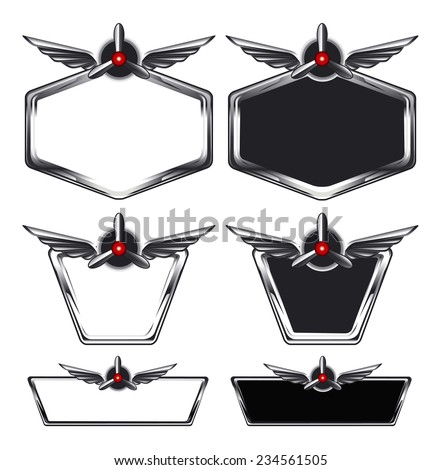 airplane glossy shields with propeller and copy space - stock vector