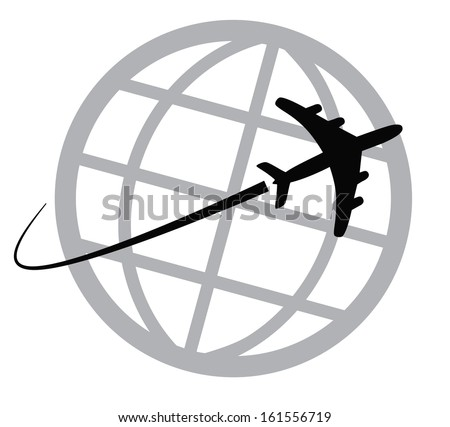 Airplane icon around the world - stock vector