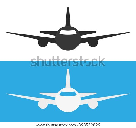 Airplane Icon. Black and white icon airplane - stock vector
