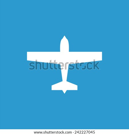 airplane icon, isolated, white on the blue background. Exclusive Symbols  - stock vector