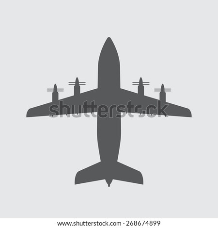 Airplane icon or sign. Vector plane silhouette. - stock vector