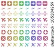 Airplane icon set. Icons related to air travel - passenger aircraft shapes. - stock photo