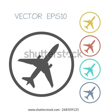airplane icon set. vector illustration - stock vector