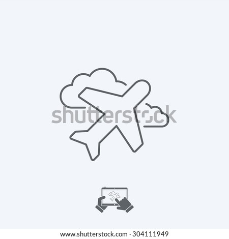 Airplane icon - Thin series - stock vector