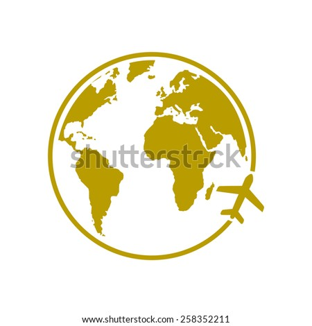 Airplane icon travel. Trip round the world. - stock vector