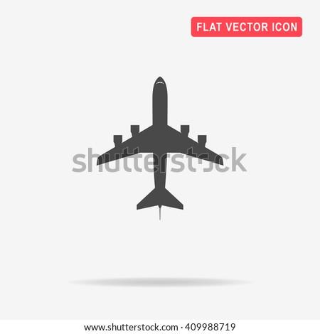 Airplane icon. Vector concept illustration for design. - stock vector