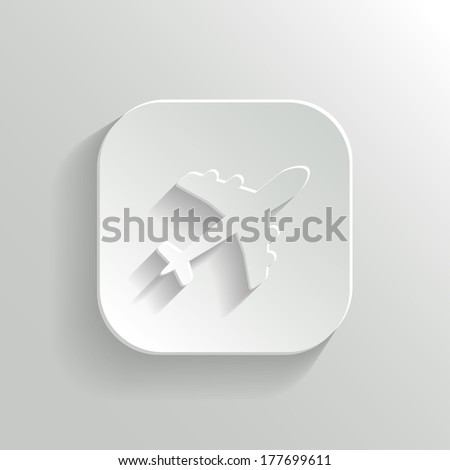 Airplane icon - vector white app button with shadow - stock vector