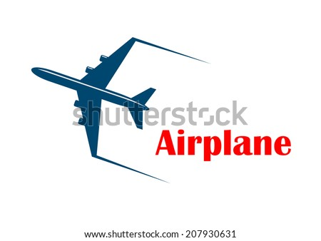 Airplane icon with a speeding jetliner or passenger plane with motion trails and the word - Airplane - in red below, silhouette on white for transportation and travel logo design - stock vector