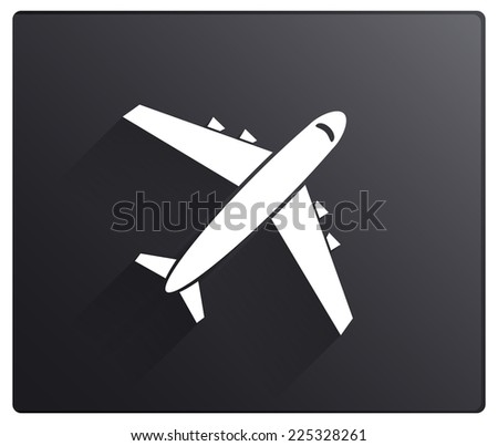 Airplane icon with long shadow on black background - stock vector