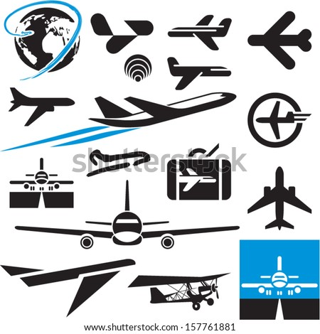 Airplane icons. Airport symbols. Plane. - stock vector