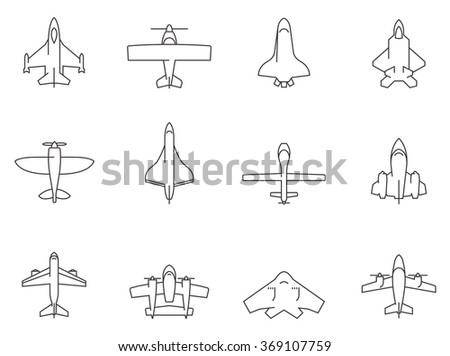 Airplane icons in thin outlines.  - stock vector