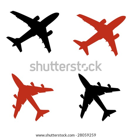 airplane icons in vector mode - stock vector