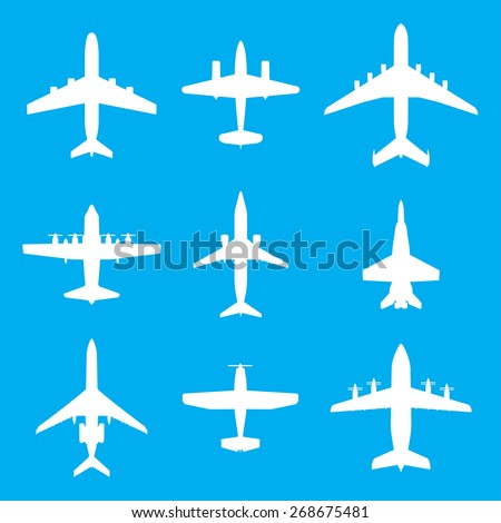 Airplane icons set isolated on blue background. Vector white silhouettes of passenger aircraft, fighter plane and screw. - stock vector