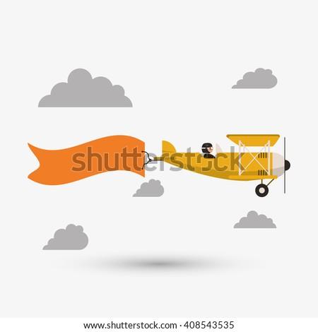 Airplane illustration design, editable vector - stock vector